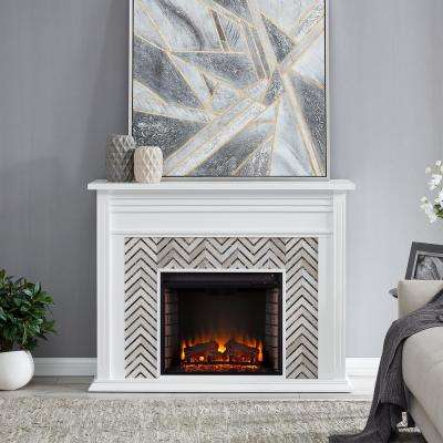 Merrin Tiled Marble 50 in. Electric Fireplace in White and Gray