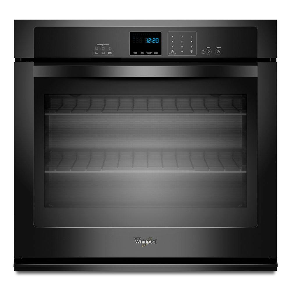 Whirlpool 27 in. Single Electric Wall Oven Self-Cleaning in Black