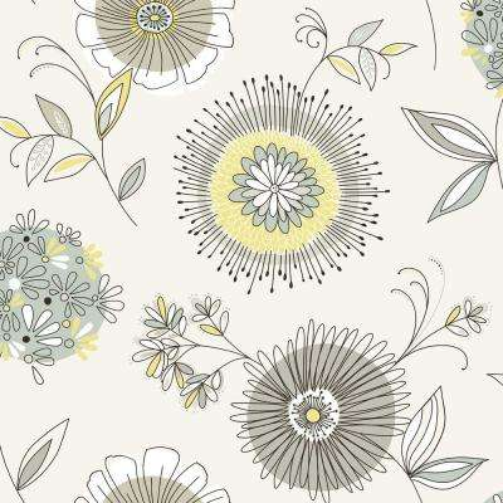 Maisie Green Floral Burst Wallpaper