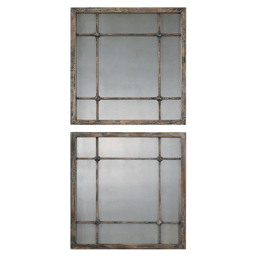 Slate Blue Square Framed Mirror