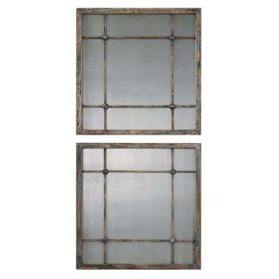 19 in. x 19 in. Slate Blue Square Framed Mirror