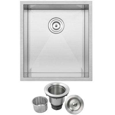 Pacific Zero Radius Undermount 16-Gauge Stainless Steel 18.5 in. Single Basin Kitchen and Bar Sink with Basket Strainer