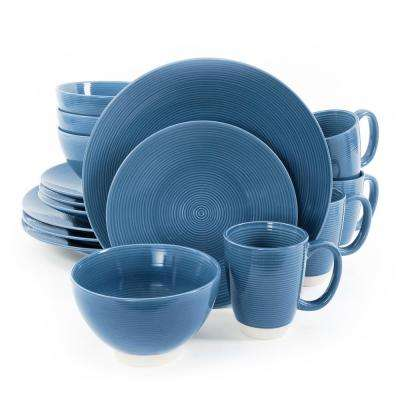 Rowland 16-Piece Blue Dinnerware Set