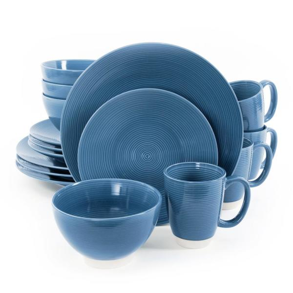 Rowland 16-Piece Casual Blue Stoneware Dinnerware Set (Service for 4)