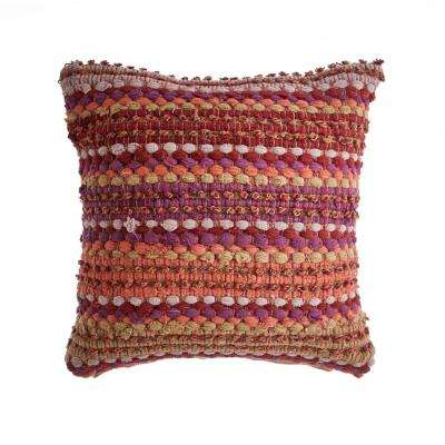 Sunny Loop Coral / Pink 18 in. x 18 in. Decorative Throw Pillow
