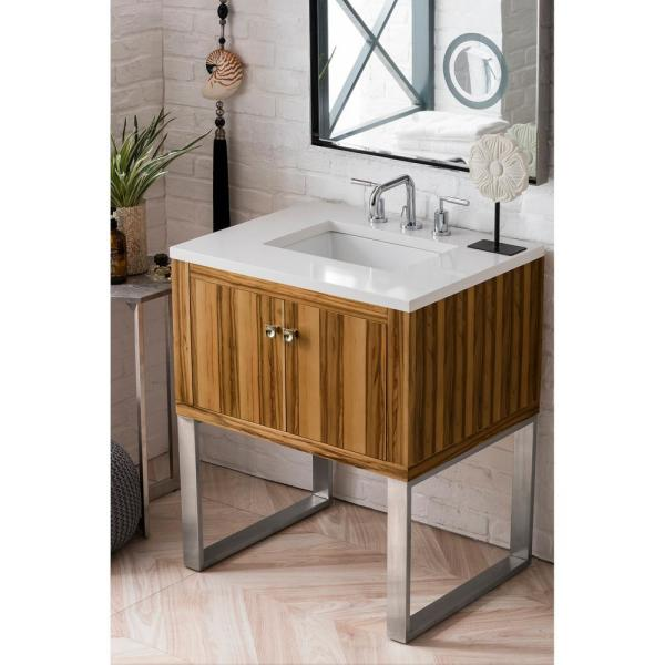 Westlake 30 in. Single Bath Vanity in Natural Apple Wood with Quartz Vanity Top in Classic White with White Basin