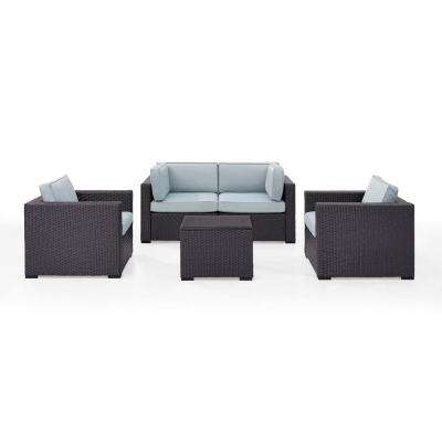 Biscayne 4-Person Wicker Outdoor Seating Set with Mocha Cushions 2-Armchairs, 2-Corner Chair and Coffee Table