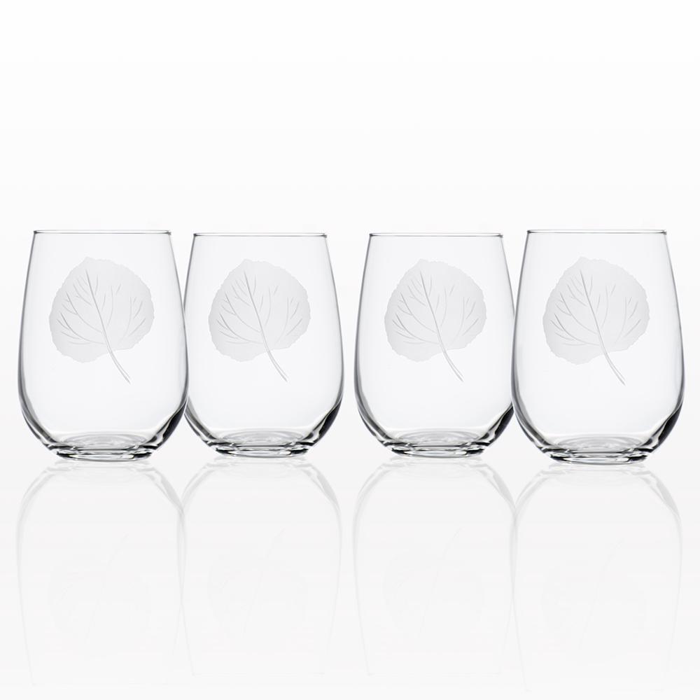0ae638e29ef Rolf Glass Aspen Leaf 17 oz. Clear Stemless Wine Tumbler (Set of 4 ...