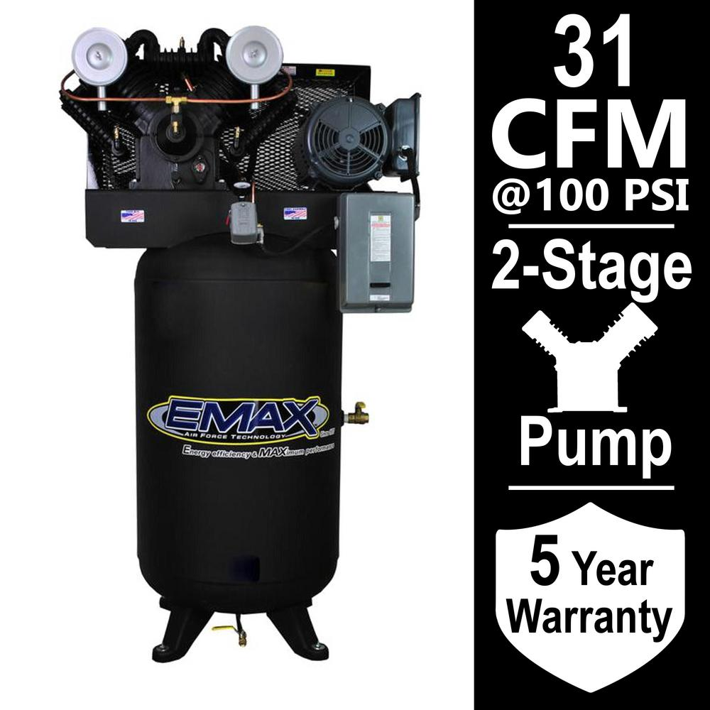 EMAX Industrial Series 80 Gal. 7.5 HP 1-Phase Electric Air Compressor