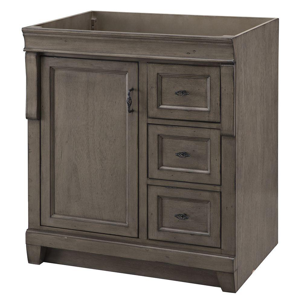 Home Decorators Collection Naples 30 in. W Bath Vanity Cabinet Only in  Distressed Grey with Right Hand Drawers