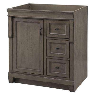 Naples 30 in. W Bath Vanity Cabinet Only in Distressed Grey with Right Hand Drawers