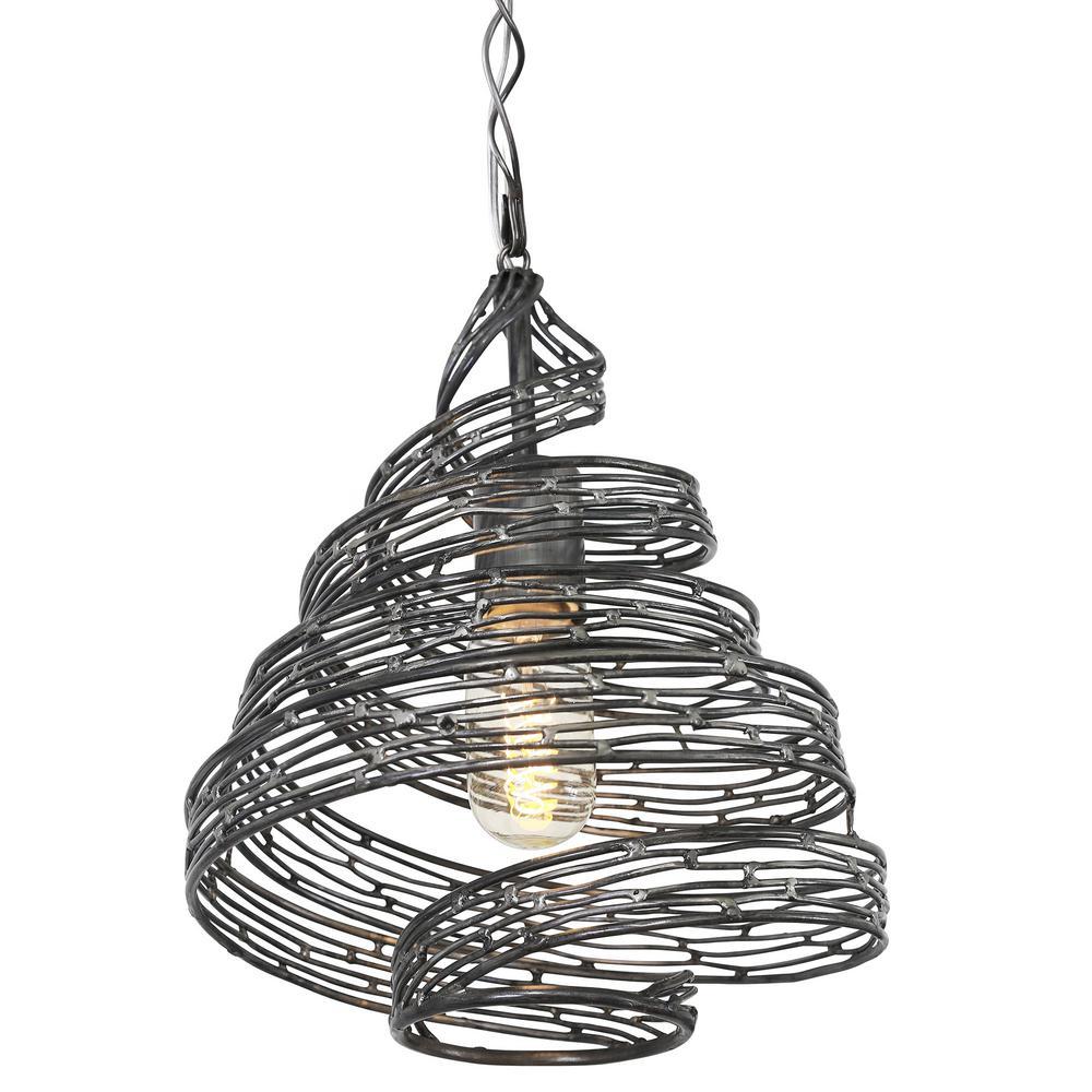 Flow 1-Light Steel Ore Wrapped Pendant