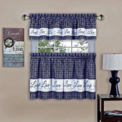 Live, Love, Laugh 58 in. W x 24 in. L Navy Polyester Tier and Valance Curtain Set
