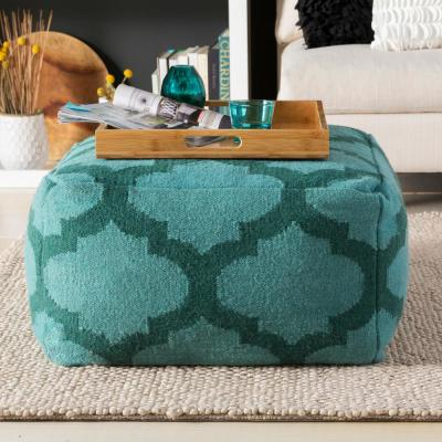 Ercilla Blue-Green Accent Pouf