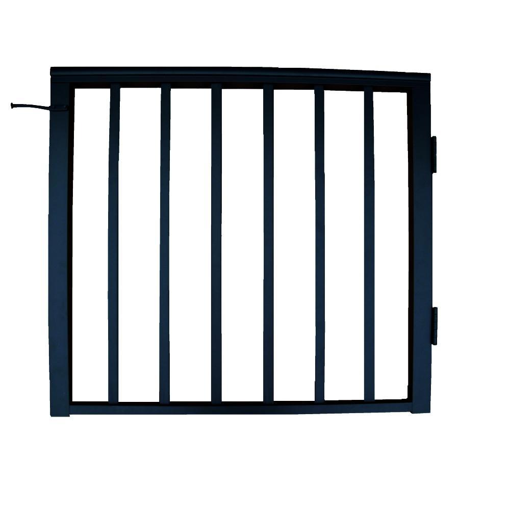 36 in x 36 in. Textured Black Pre-Built Aluminum Single-Panel Gate