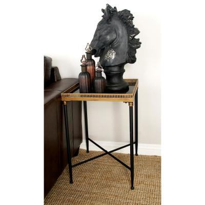 Black Iron Tray Table with Laced Edges
