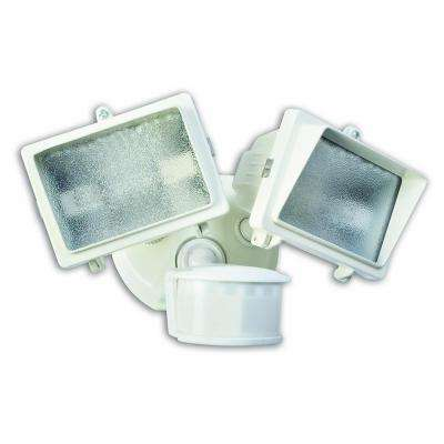 300-Watt 270-Degree White Motion Activated Outdoor Dusk to Dawn Security Flood Light with Twin Head and Halogen Bulb