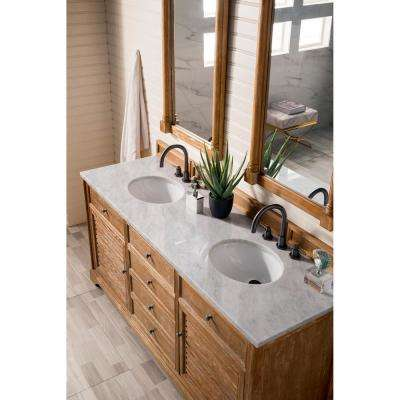 James Martin Vanities Savannah 72 In Single Bath Vanity In Driftwood With Marble Vanity Top In Carrara White With White Basin 238 104 5711 3ocar The Home Depot