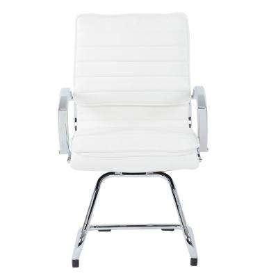 Guest Faux Leather Chair in White with Chrome Base