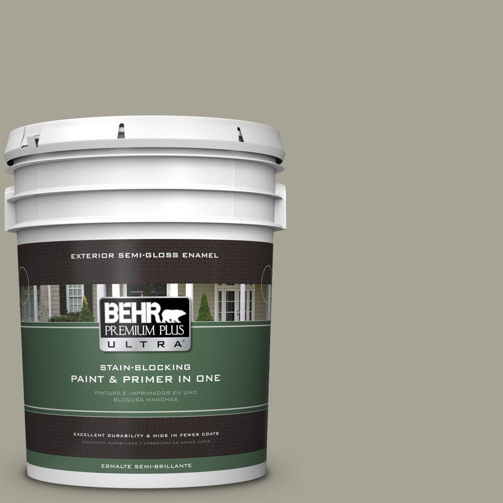 BEHR Premium Plus Ultra Home Decorators Collection 5-gal. #HDC-NT-01 Woodland Sage Semi-Gloss Enamel Exterior Paint