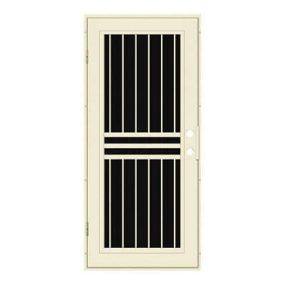 36 in. x 80 in. Plain Bar Beige Hammer Left-Hand Surface Mount Aluminum Security Door with Charcoal Insect Screen