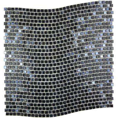 Constellation Wavy Black 11.7 in. x 11.7 in. x 3.20 mm Glass Mosaic Tile
