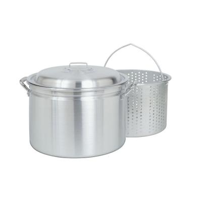 24 qt. Aluminum Stock Pot with Perforated Basket and Vented Lid