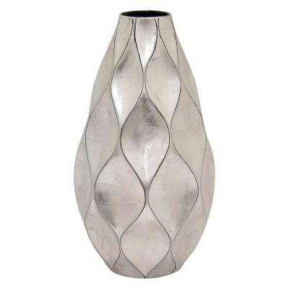 9.25 in. x 9.25 in. x 17.5 in. Silver Ceramic Vase