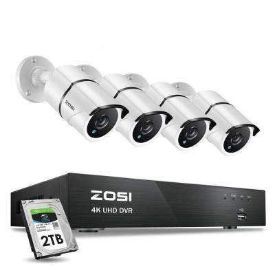 4-Channel 8MP 2TB Hard Drive DVR Surveillance System with 4-Wired Bullet Cameras