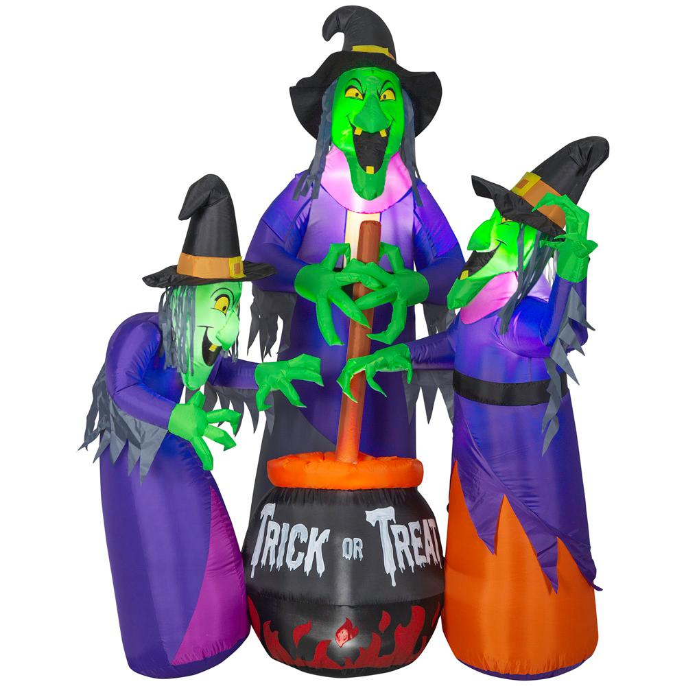 Home Accents Holiday 6 ft. Inflatable Fire and Ice 3 Witches with Cauldron (GGR) Projection Airblown Scene