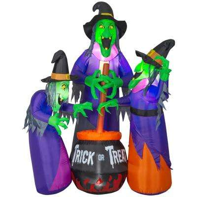 6 Ft Inflatable Fire And Ice 3 Witches With Cauldron Ggr Projection Airblown Scene