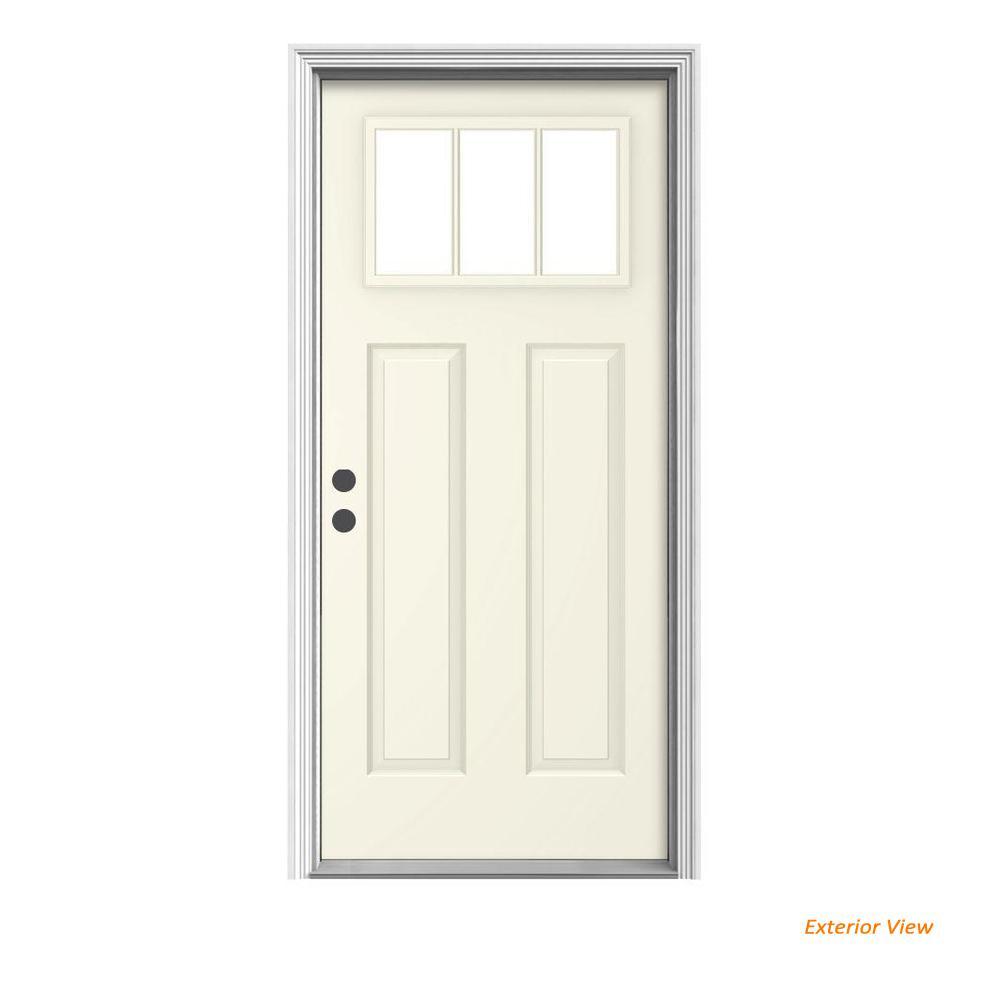JELD-WEN 36 in. x 80 in. 3-Lite Craftsman Vanilla Painted Steel Prehung Right-Hand Inswing Front Door w/Brickmould