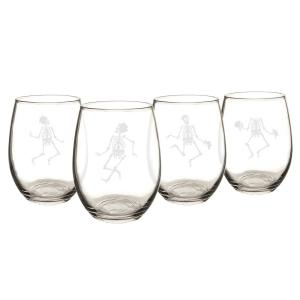 Dancing Skeletons 21 oz. Stemless Wine Glasses (Set of 4) by
