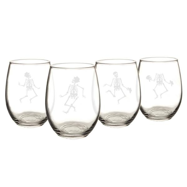 Dancing Skeletons 21 oz. Stemless Wine Glasses (Set of 4) HW16-1110-SK