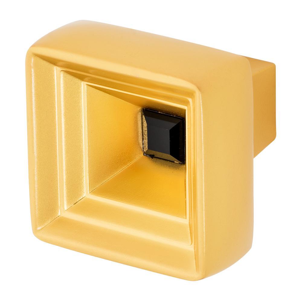 Hidden Treasure 1-1/16 in. Satin Gold with Black Crystal Cabinet Knob