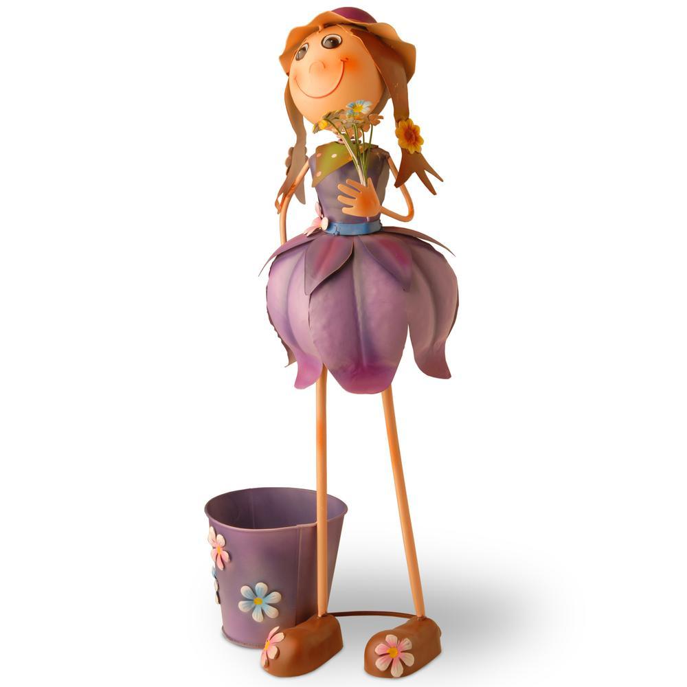 Tin Flower Girl with Pot