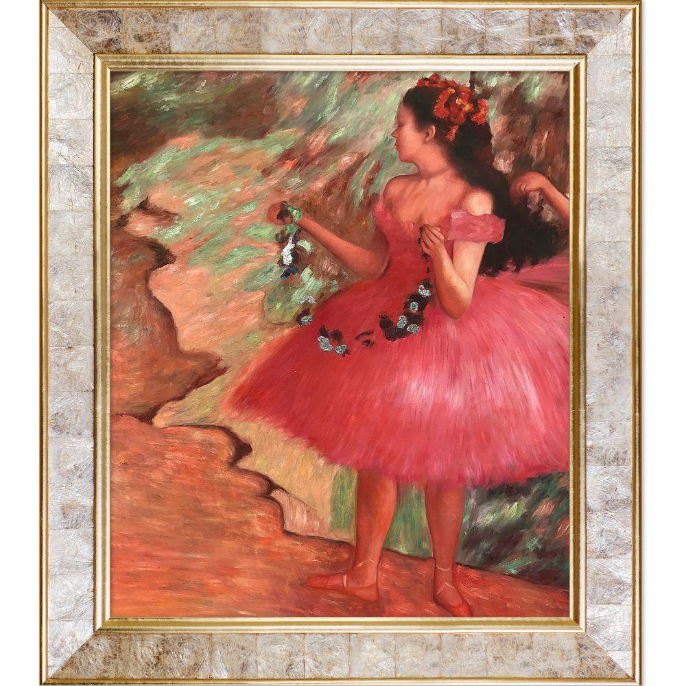 """26 in. x 30 in. """"Dancer in a Pink Dress (Luxury Line)"""" by Edgar Degas Framed Wall Art"""