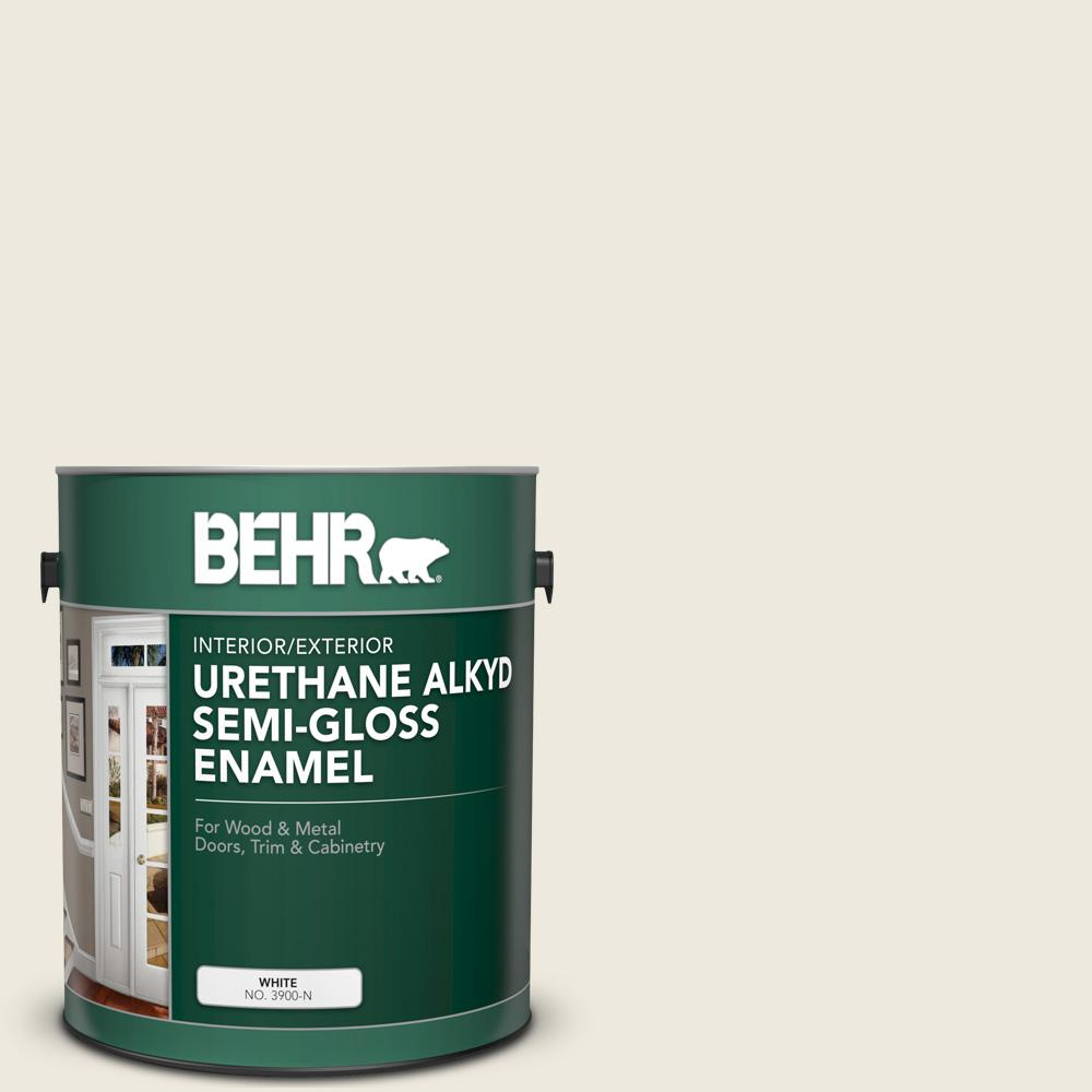 BEHR 1 gal. #AE-25 Colony White Urethane Alkyd Semi-Gloss Enamel Interior/Exterior Paint
