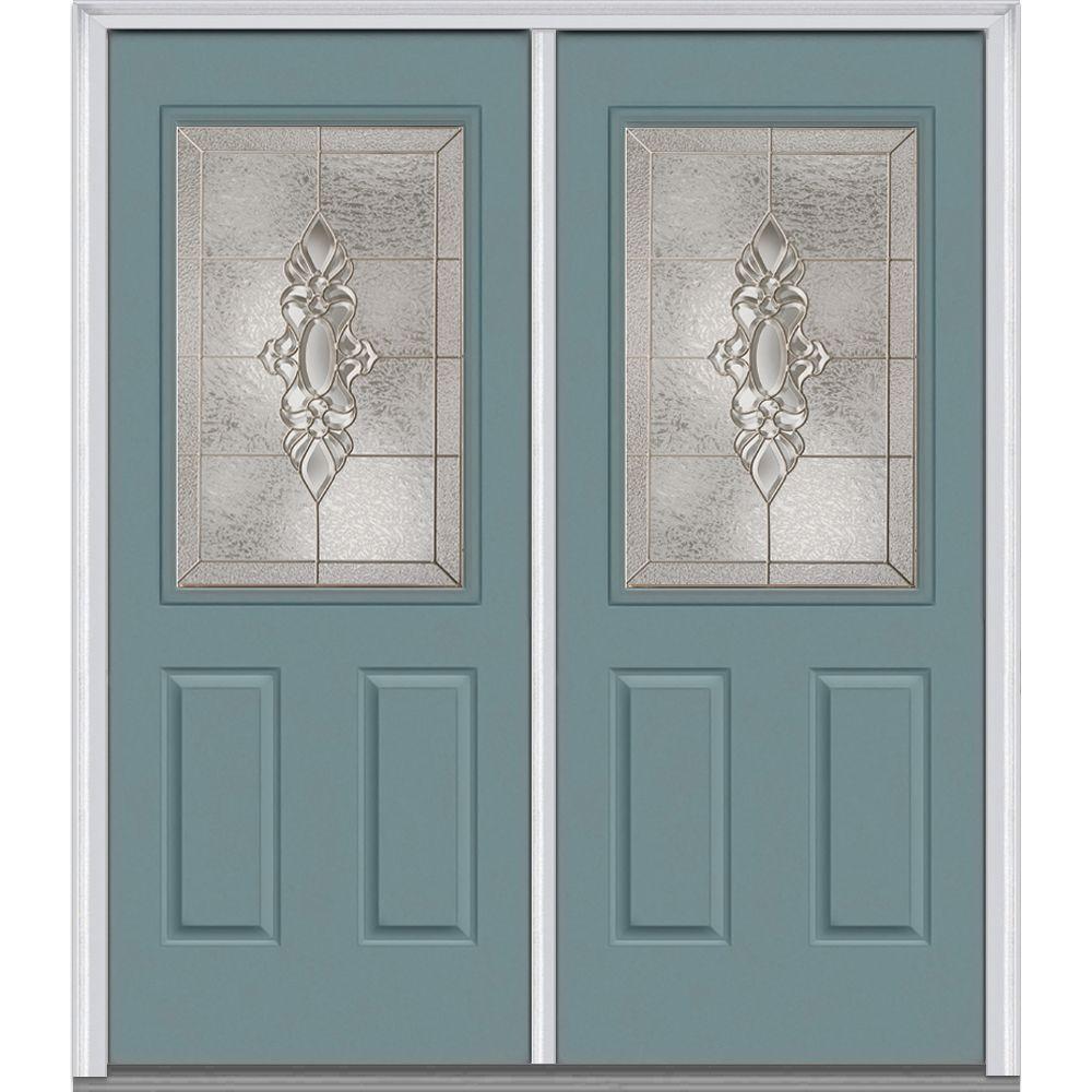 front double doors. 72 in  x 80 Heirloom Master Left Hand 1 2 Lite Double Door Fiberglass Doors Front The Home Depot