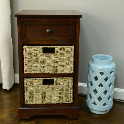 Urban Farmhouse Walnut 3-Drawer Basket End Table