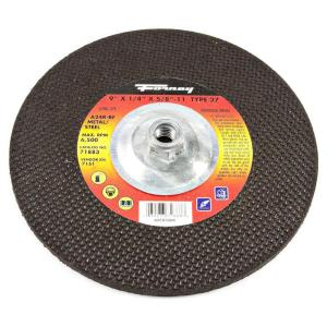 Forney 9 inch x 1/4 inch x 5/8 in.-11 Threaded Metal Type 27 A24R Grinding Wheel by Forney