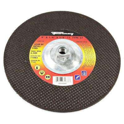 9 in. x 1/4 in. x 5/8 in.-11 Threaded Metal Type 27 A24R Grinding Wheel