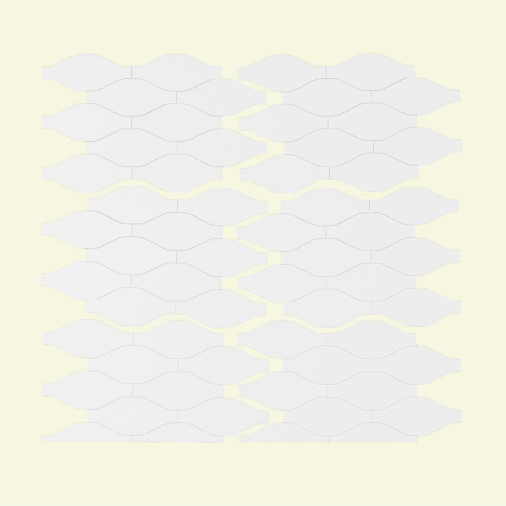 Aspect Wavelength Matted 6 in. x 4 in. Metal Decorative Tile Backsplash in White
