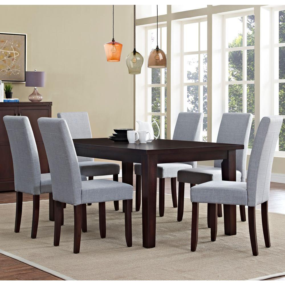 Beautiful Simpli Home Acadian 7 Piece Dove Grey Dining Set