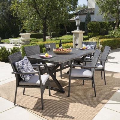 Black 7-Piece Wicker and Aluminum Rectangular Outdoor Dining Set with Gray Cushion