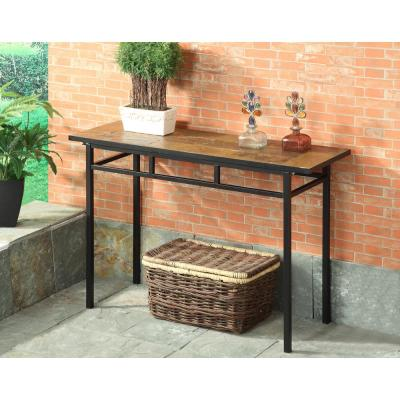 Black Metal and Slate Console Table
