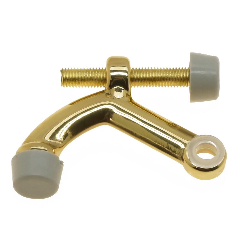 Solid Brass Hinge Pin Door Stop in Polished Brass No Lacquer
