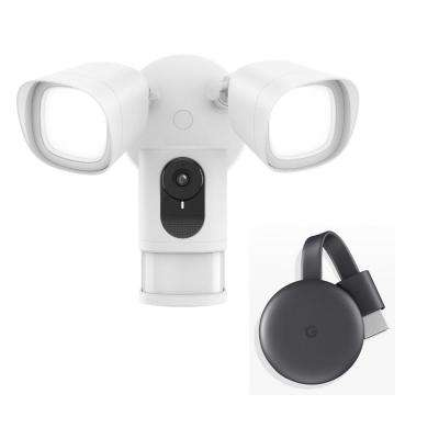 Security FloodCam Google Chromecast Combo 1080p Wide-Angle Wired Surveillance Camera with Adjustable Dual Lightning