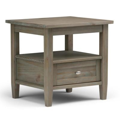 Warm Shaker Solid Wood 20 in. Wide Rustic End Side Table in Distressed Grey