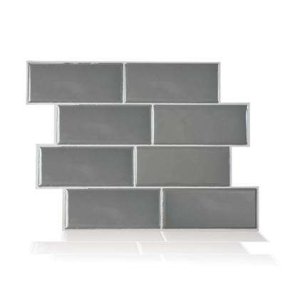 Metro Grigio 11.56 in. W x 8.38 in. H Peel and Stick Self-Adhesive Decorative Mosaic Wall Tile Backsplash (12-Pack)